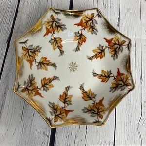 Vintage retro orange fall leaves porcelain bowl